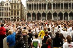 在布鲁塞尔大广场的Capoeira 库存图片