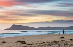 在布鲁尼岛,塔斯马尼亚岛的日出 库存照片