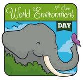 在布什后的大象有在世界环境日的一只蝴蝶的,传染媒介例证 库存例证