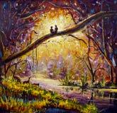 在帆布的原始的油画-人和女孩坐分支在森林里-现代印象主义艺术 免版税图库摄影