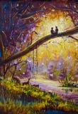 在帆布的原始的油画-人和女孩坐分支在森林里-现代印象主义艺术 库存图片
