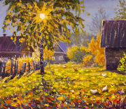 在帆布的原始的油画-五颜六色的绘画-现代印象主义艺术 免版税库存照片