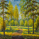 在帆布的原始的油画春天树 美好的春天在森林,在路的阴影使现代印象主义艺术品环境美化 免版税图库摄影