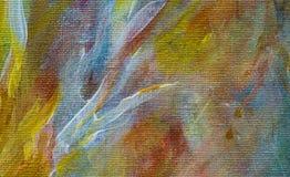 在帆布的宏观抽象油漆冲程 库存照片