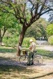 在帆布的成熟人绘画在公园 库存图片