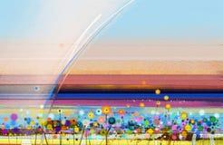 在帆布的抽象五颜六色的油画 山水画背景的半抽象图象 免版税库存图片