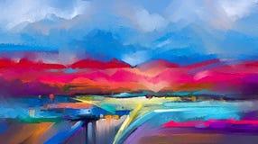 在帆布的抽象五颜六色的油画 山水画背景的半抽象图象 库存例证