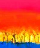 在帆布的抽象五颜六色的油画风景 库存例证