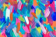 在帆布的抽象图画与油漆 免版税库存照片