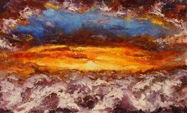 绘在帆布的抽象红色云彩 库存图片