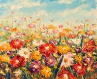 在帆布的美丽的领域花 领域温暖的花 impasto 库存图片