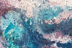 在帆布的蓝色五颜六色的抽象油画样式作为背景 皇族释放例证