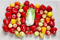 在帆布的鲜美成熟水果和蔬菜谎言 免版税库存照片