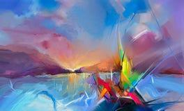 在帆布纹理的五颜六色的油画 海景绘画的半抽象图象有阳光背景 库存例证