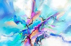 在帆布纹理的抽象五颜六色的油画 背景的抽象当代艺术 向量例证