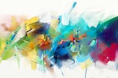 在帆布纹理的抽象五颜六色的油画 皇族释放例证