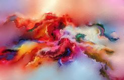 在帆布纹理的抽象五颜六色的油画 库存例证