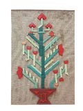 在帆布纹理的抽象创造性的圣诞树被隔绝的  免版税库存图片