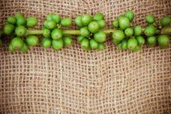 在帆布纹理背景的新鲜的咖啡豆 库存照片
