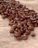 在帆布背景的咖啡粒 库存照片