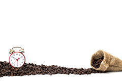 在帆布袋子的咖啡豆 免版税库存照片