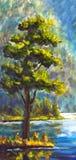在帆布-五颜六色的杉树绘画的原始的手画油画绿色杉树-现代印象主义艺术 库存照片