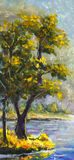 在帆布-五颜六色的杉树绘画的原始的手画油画绿色杉树-现代印象主义艺术 图库摄影
