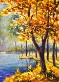 在帆布-五颜六色的橙树绘画的原始的手画油画秋天树-现代印象主义艺术 免版税库存照片