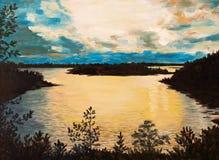 在帆布-在湖的日落,抽象图画的油画 免版税库存图片