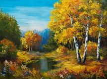 在帆布-有湖的秋天森林的油画 免版税图库摄影