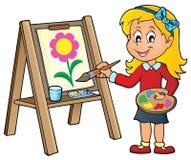 在帆布1的女孩绘画 皇族释放例证