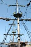 在帆船的帆柱 库存照片