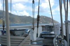 在帆船的绞盘 库存照片