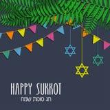 在希伯来语的愉快的Sukkot贺卡 库存照片
