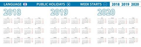 在希伯来语的简单的日历模板在2018年2019年,2020年 星期从星期一开始 向量例证