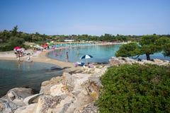 在希腊半岛Sithonia的惊人的Lagonisi海滩 免版税库存图片
