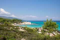在希腊半岛Sithonia的桔子或Portokali海滩 免版税图库摄影
