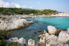 在希腊半岛Sithonia的桔子或Portokali海滩 库存图片
