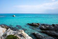 在希腊半岛Sithonia的桔子或Portokali海滩 库存照片