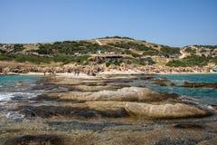 在希腊半岛Sithonia的美丽的Tigania海滩 库存图片