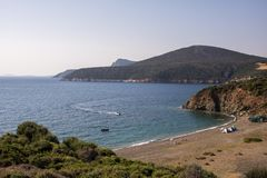 在希腊半岛Sithonia的莱莫斯海滩 库存图片