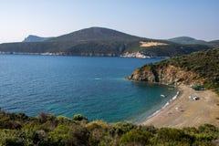 在希腊半岛Sithonia的莱莫斯海滩 图库摄影