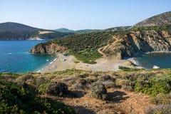在希腊半岛Sithonia的莱莫斯海滩 免版税库存图片