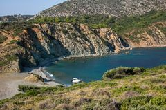 在希腊半岛Sithonia的莱莫斯海滩 免版税库存照片