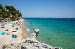 在希腊半岛Sithonia的Fava海滩 免版税库存照片