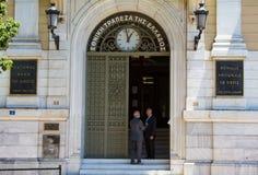 在希腊国家银行的希腊人 免版税图库摄影