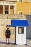 在希腊无名英雄墓的卫兵 库存照片