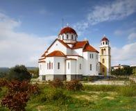 在希腊海岛上的教会 库存照片