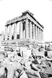 在希腊老建筑学和历史地方帕台农神庙在 库存照片