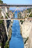 在希腊视图的科林斯湾渠道在爱琴海,当船通过渠道时 库存照片